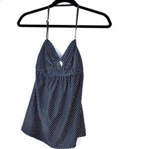 DKNY Black Polka Dot Halter Tankini Swim Top Small